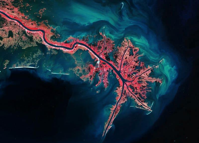 Mississippi River Delta - CREDIT European Space Agency