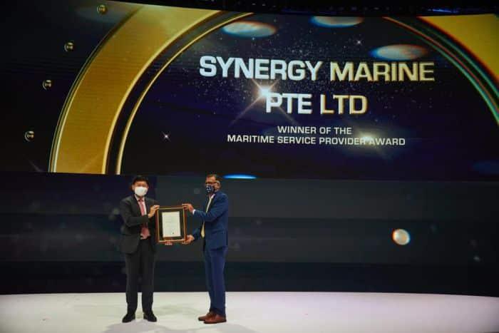 Sanjeev Namath, Director, Synergy Marine, collects the 'Maritime Service Provider Award 2021' at the Singapore International Maritime Awards