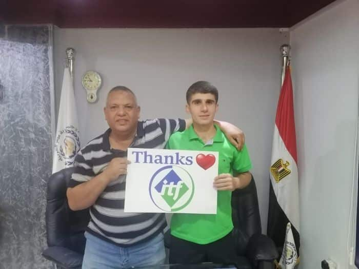 Seafarer Mohammad Aisha stands with the ITF contact who has volunteered to take his place as the legal guardian of the MV Aman, allowing Mr Aisha to go home - (Credit - ITF)
