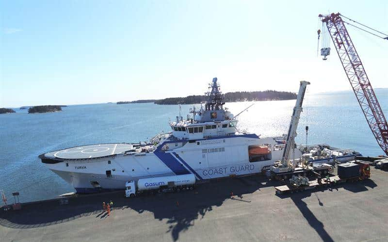 The Finnish Border Guard's patrol vessel the 'Turva' operates with Wärtsilä dual-fuel engines capable of running on Bio LNG fuel. © Finnish Border Guard