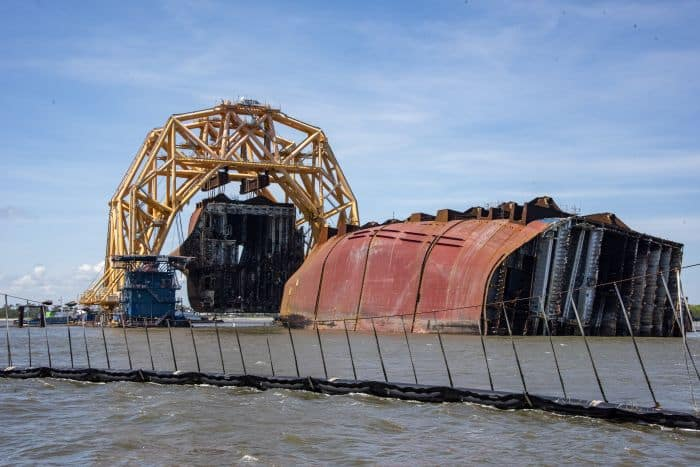 The VB-10000 lifts Section Seven of Golden Ray wreck during removal operations on Monday. St. Simons Sound Incident response photo