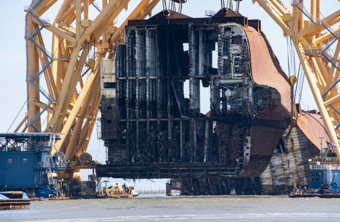 The VB-10000 lifts Section Seven of the Golden Ray wreck on Monday during operations to remove the section by barge. St. Simons Sound Incident response photo