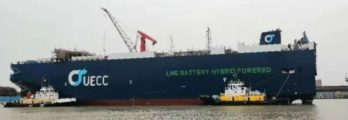 UECC's first LNG battery hybrid PCTC on the water