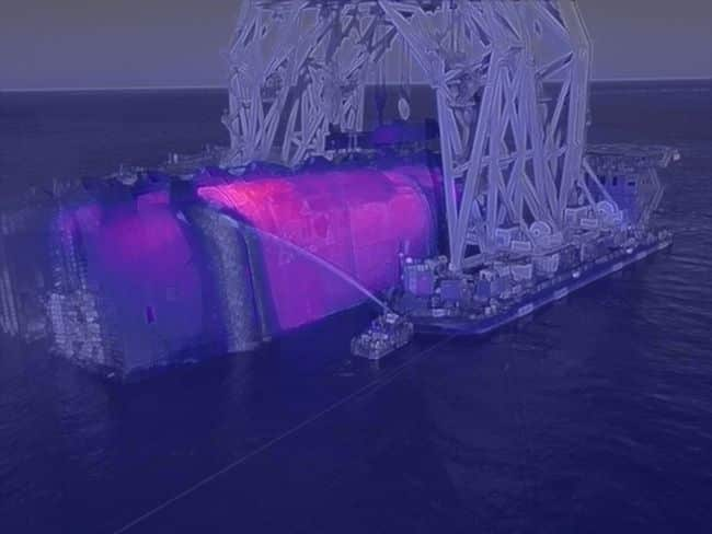 An infrared image of the wreck shows the areas of high heat during fire suppression operations