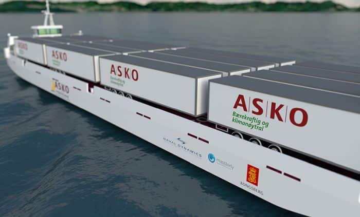 Autonomous shipping joint venture between ASKO, Kongsberg Maritime and Massterly (Kongsberg/Wilhelmsen joint venture) 2 Fully Electric ships will replace 2 million kilometres of truck transport, saving 5,000 tonnes of CO2 every year.