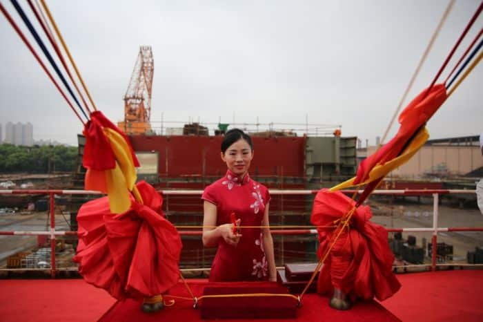 CSL Salt ship launch - cutting