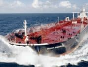 An undated handout photo, provided to the media on Wednesday, Jan. 7, 2009, shows a supertanker called 'Front Shanghai', which is a Frontline Ltd., vessel. Oil traders are seeking as many as 10 supertankers to store crude, potentially taking the amount hoarded at sea to almost five days of European Union demand, according to Frontline Ltd., the largest owner of the vessels. Source: Frontline Ltd., via Bloomberg News EDITOR'S NOTE: NO SALES