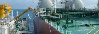FueLNG Bellina delivering LNG bunker to Aframax tanker, Pacific Emerald.