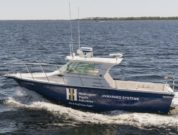 Huntington Ingalls Industries' 27-foot Proteus USV, outfitted with Sea Machines Robotics' SM300 autonomy system
