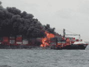 Major fire-reported-on-MV X Press Pearl today off Colombo after a blast occured onboard