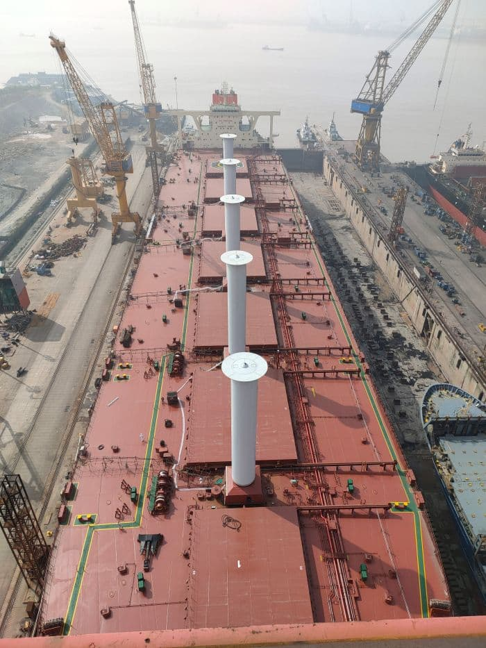 Norsepower Installs Five Tiltable Rotor Sails On A VLOC Chartered By Vale
