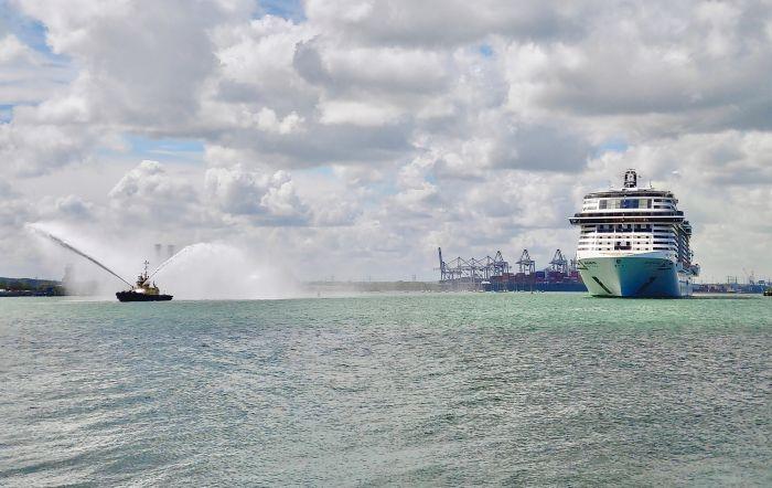 MSC virtuosa arrives into southampton credit msc cruises blue harbour
