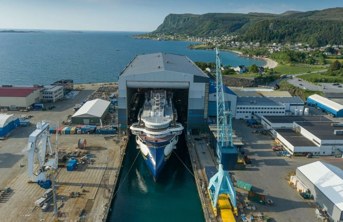 After months out of sight in the dock hall at Ulstein Verft, Norway, the 126-passenger expedition