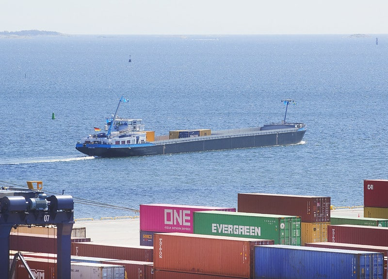 First container barge shuttle service