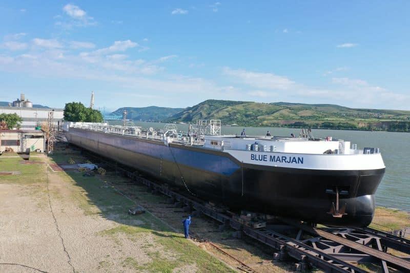 First of 40 Concordia Damen inland waterway tankers - Blue marjan