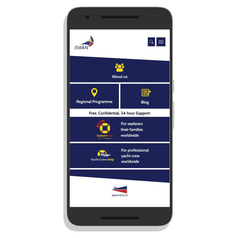 ISWAN for Seafarers App homepage screenshot