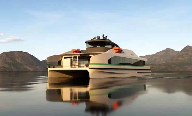 Artist's impression of the fully electric, zero-emission fast ferry Medstraum now under construction at Norwegian shipyard Fjellstrand