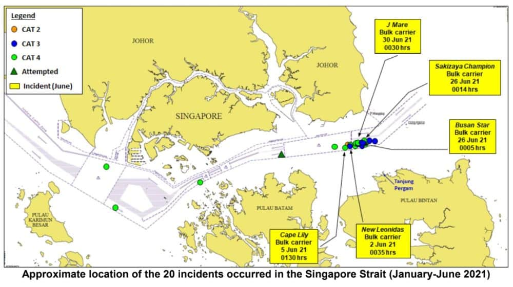 approximate location of the 20 incidents occured in singapore strait