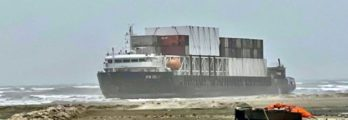 Karachi ship beached