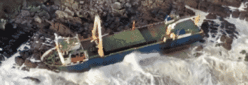 MV Alta washed up on shore of Ballycotton