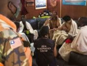 Survivors in the lounge of the Sam Simon