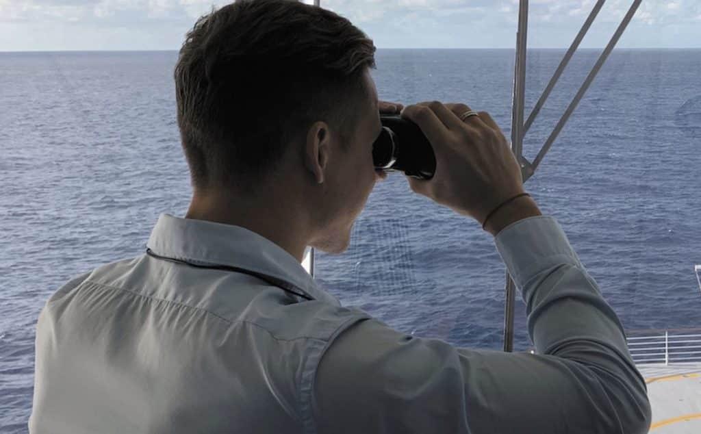 Cadet Seafarer watching over deck