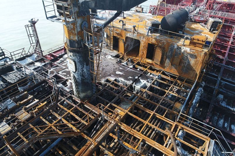 Midships deckhouse burned out