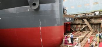 Two Cargo Ships & Three Floating Border Outposts Launched Simultaneously At Cochin Shipyard