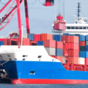 cargo on container ship