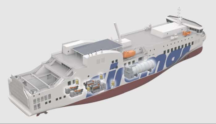 new ferry showing the layout for where the Wärtsilä engines will be installed. © Pictures courtesy of NAOS