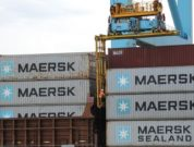 maersk containers stacked on each other