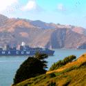 CMA CGM crossing Golden Gate Bridge