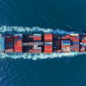 Container ship - top view - representation