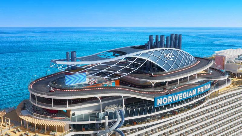 The Prima Speedway will be the largest and first ever three-level racetrack, spanning a quarter mile in length (1,378 feet/ 402 meters), wrapping around the ship's funnel and featuring 14 nail-biting turns