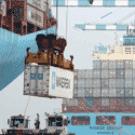maersk container being lifted