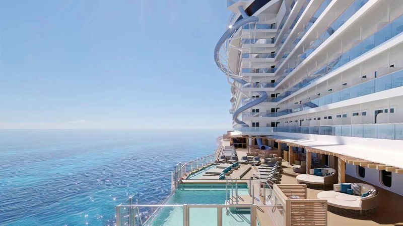 world's first freefall dry slide, The Drop. The towering 10-story plunge will have guests experiencing the highest G-force of any comparable experience in the cruise industry