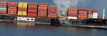 cargo onboard ship on fire