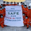 Seafarers on board vessel sharing a message of safety. Photo credit - Mitsui O.S.K. Lines, Ltd