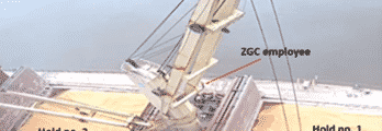 NTSB released Tuesday Marine Accident Brief 21/20 detailing its investigation into the contact of a bulk carrier's crane with a grain facility in Convent, Louisiana on Nov. 11, 2020. This CCTV still image shows the GH Storm Cat's crane during the initial sequence of the accident list—lifting the payloader out of ship's no. 1 cargo hold. Marine Accident Brief 21/20 is available at go.usa.gov/xMsyP. (Photo courtesy of ZGC. Annotated by NTSB.)
